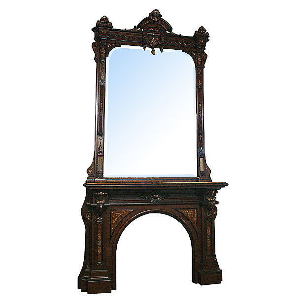 5812 American Renaissance Revival 19th century Mantel & Over Mirror
