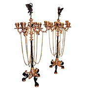 5819 Pair of French Napoleon III Patinated & Gilt Bronze 6-Light Candelabra