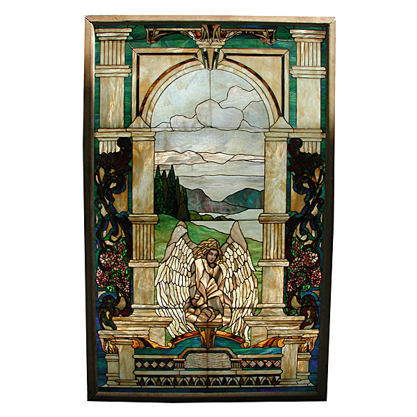 5839 Beautiful Stained Glass Window with Angelic Motif