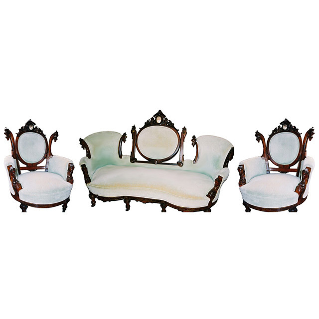 5845 3-Piece Rosewood Parlor Set by John Jelliff