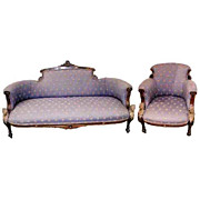 5855 Pottier & Stymus 2-Piece Rosewood Parlor with Dore Bronze Classical Caryatids