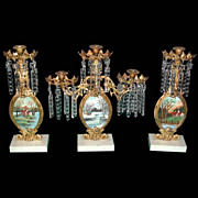 5857 Antique 3-Piece Gilt Bronze Girandole Set with Oil on Board Landscapes