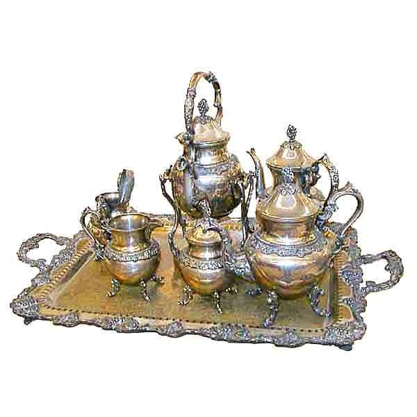 5859 Large Victorian 7 pc. Silverplate Tea Set with Detailed Grape Pattern