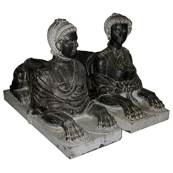 5867 Beautiful Pair of Black Marble Sphinxes