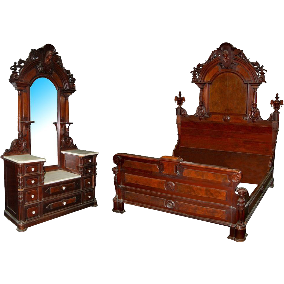 5877 Two-Piece Renaissance Revival Bedset by Thomas Brooks