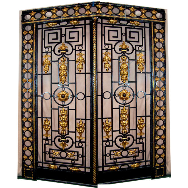 5900 Beautiful French Gilt Detailed Framed Iron Entry Doors c. 1890