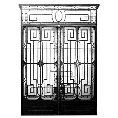 5901 Pair of Wrought Iron Doors with Strong Geometric Composition
