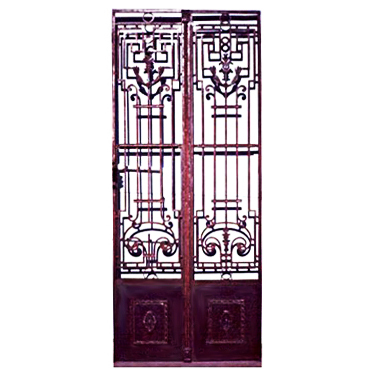 5902 Classic Pair of Antique French Wrought Iron Entry Doors
