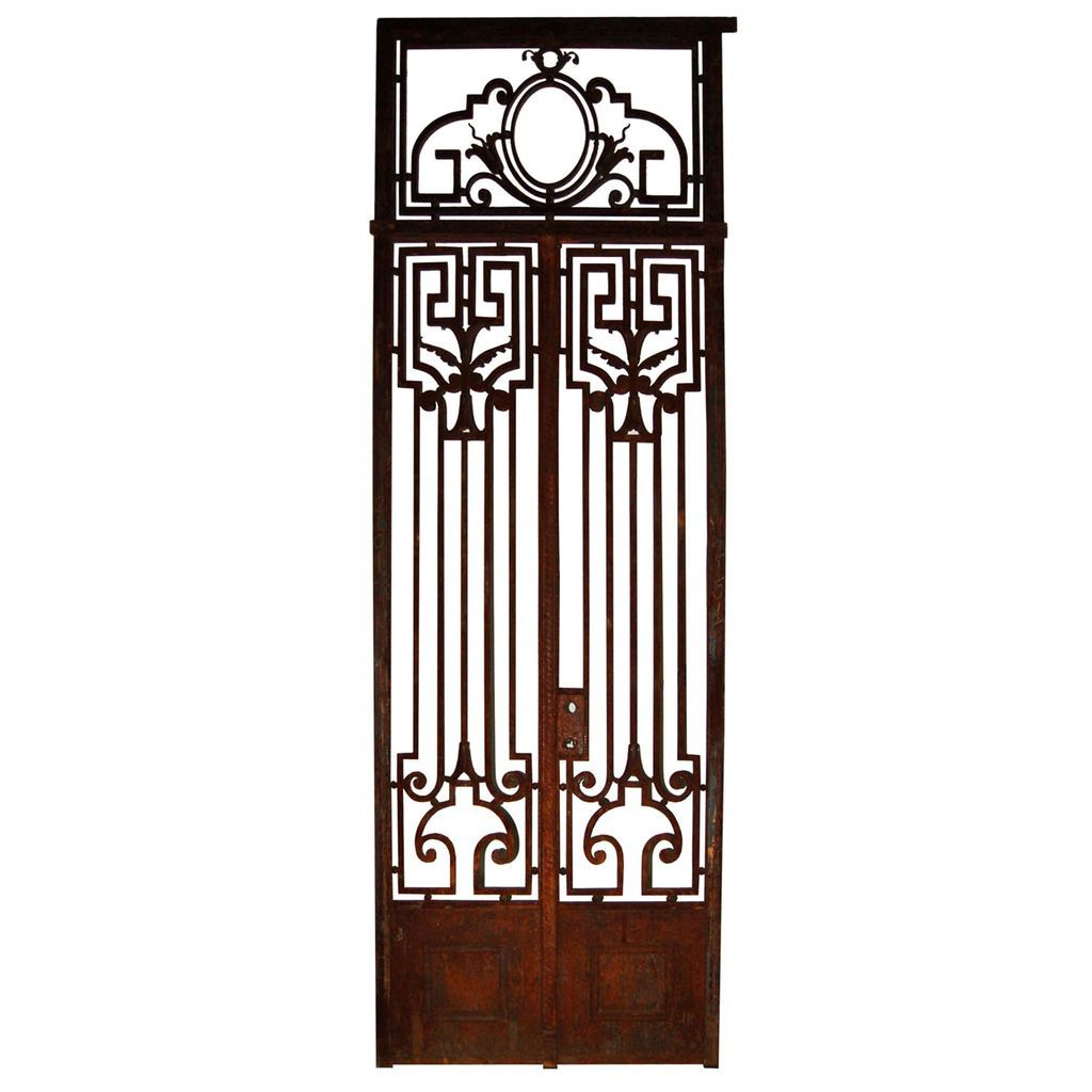 5903 Pair of Antique French Wrought Iron Entry Doors with Greek Key and Classical Motifs