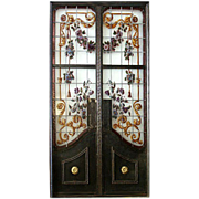 74.5908 Antique Wrought Iron & Stained Glass Doors with Flower Motif