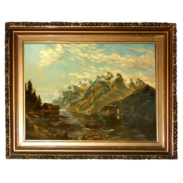 5915 Large Early 20th C. Framed Oil on Canvas Landscape Painting Signed W. Admonson 1912