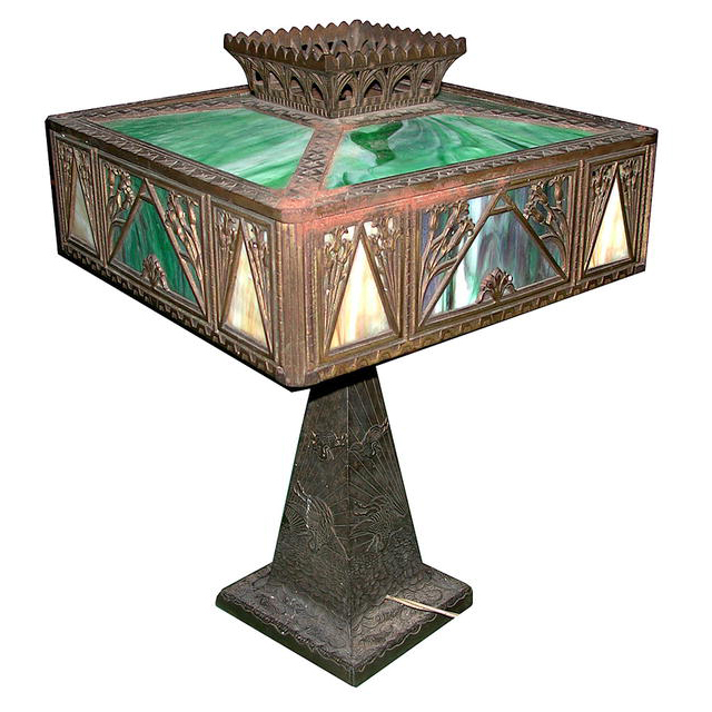 5916 Antique Cast Bronze & Iron Table Lamp with Stained Glass Filigree Shades