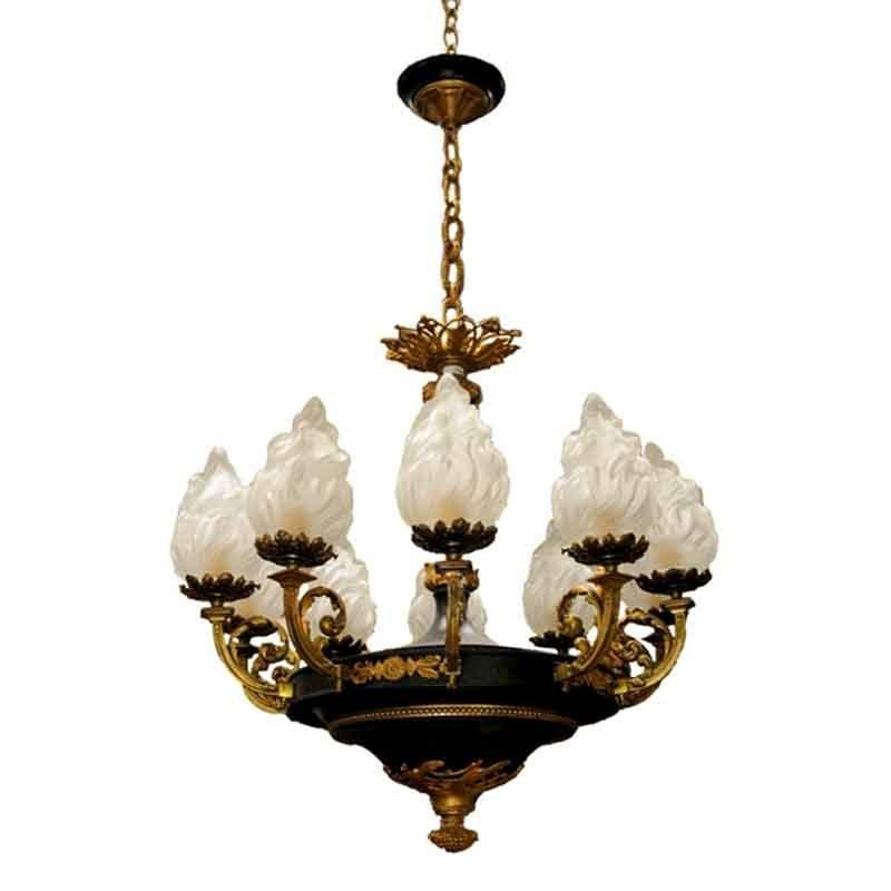 5919 Fine Quality Tole and Bronze French Empire Chandelier