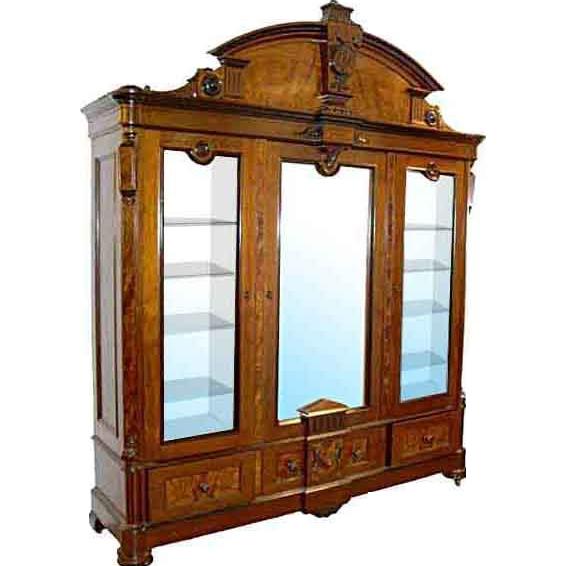 5926 3-Door American Renaissance Burled Walnut Bookcase