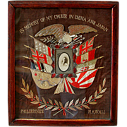 5941 Framed Naval Embroidery Memorabilia c. 1900