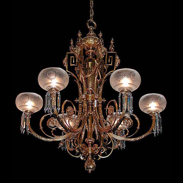 5975 Fantastic 19th C. Chandelier w/Globes