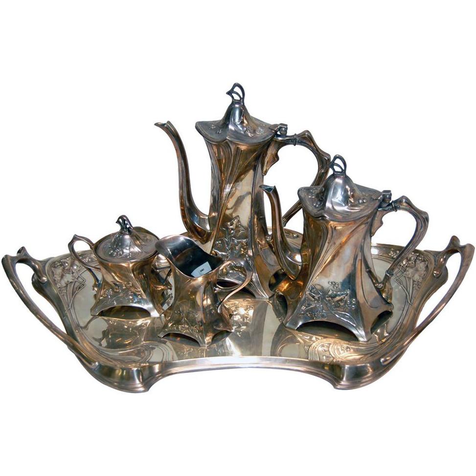 5981 WMF Silver Plate Art Nouveau Tea Set