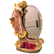 5983 Fabulous Art Nouveau Mirror w/Winged Figural Lady by Fiances.