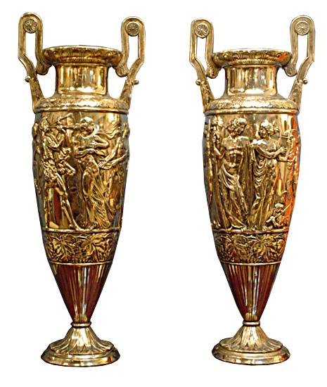 5987 Spectacular Pair of Antique WMF Silver Plated Figural Carved Vases