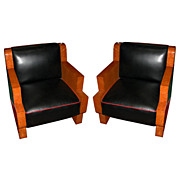 5988 Beautiful Pair of Burled Maple Art Deco Chairs