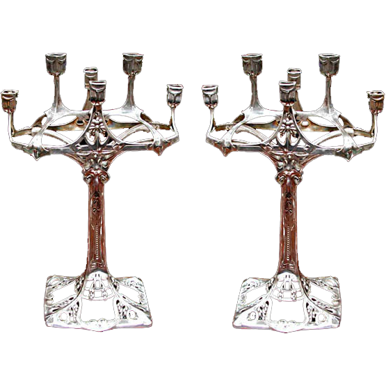 5990 Pair of Silver Art Nouveau Candelabra by WMF