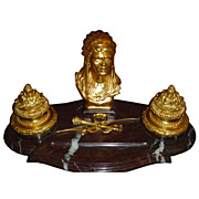 5995 Fantastic Gilt Bronze & Marble American Indian Inkwell