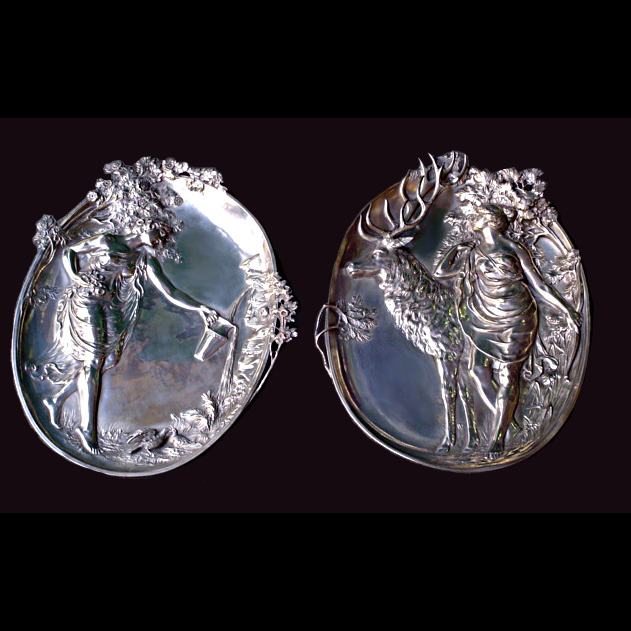 5998 Beautiful Pair of WMF Silver Plate Plaques.