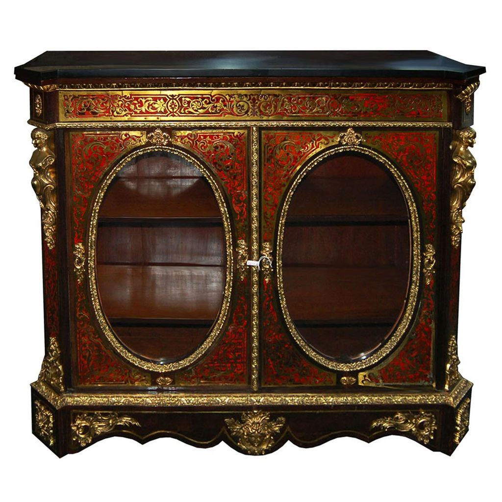 6013 2-Door Boulle Red Cabinet/Credenza with Marble Top
