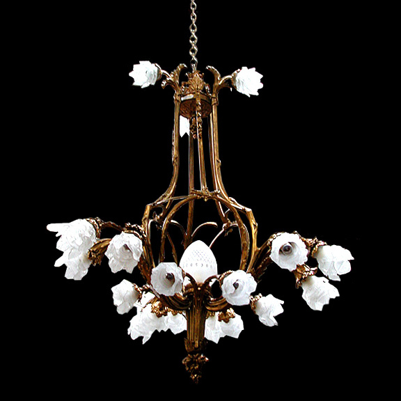 6019 American Victorian Chandelier with Bronze Frame & Glass Flower Shades