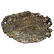 "6022 Large Ornate Bronze Tray ""Serenading Pierrot"" with Grape Motif"
