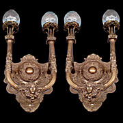 6025 Fabulous Pair of Large Art Deco Sconces c.1920