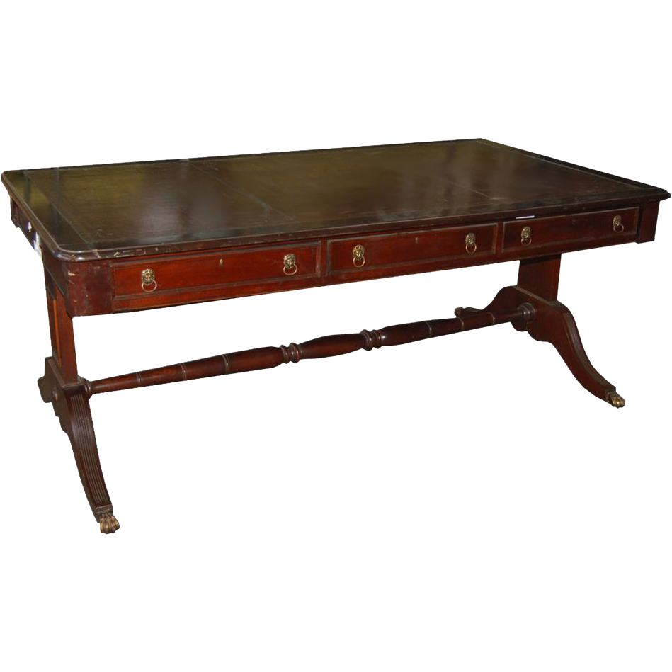 6030 English Sheraton Style Mahogany Library Table with Leather Top