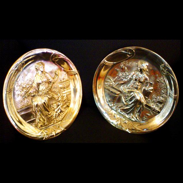 6034 Spectacular Pair of Figural Female Art Nouveau Plaques.