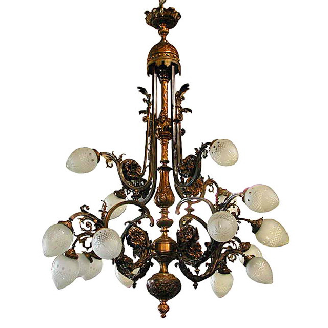 6035 Large Bronze French 16 Light Belle Epoque Chandelier