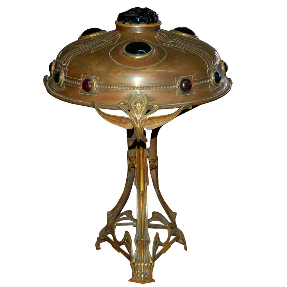 6042 Antique Bronze Art Nouveau Lamp with Colored Chunk Jewels