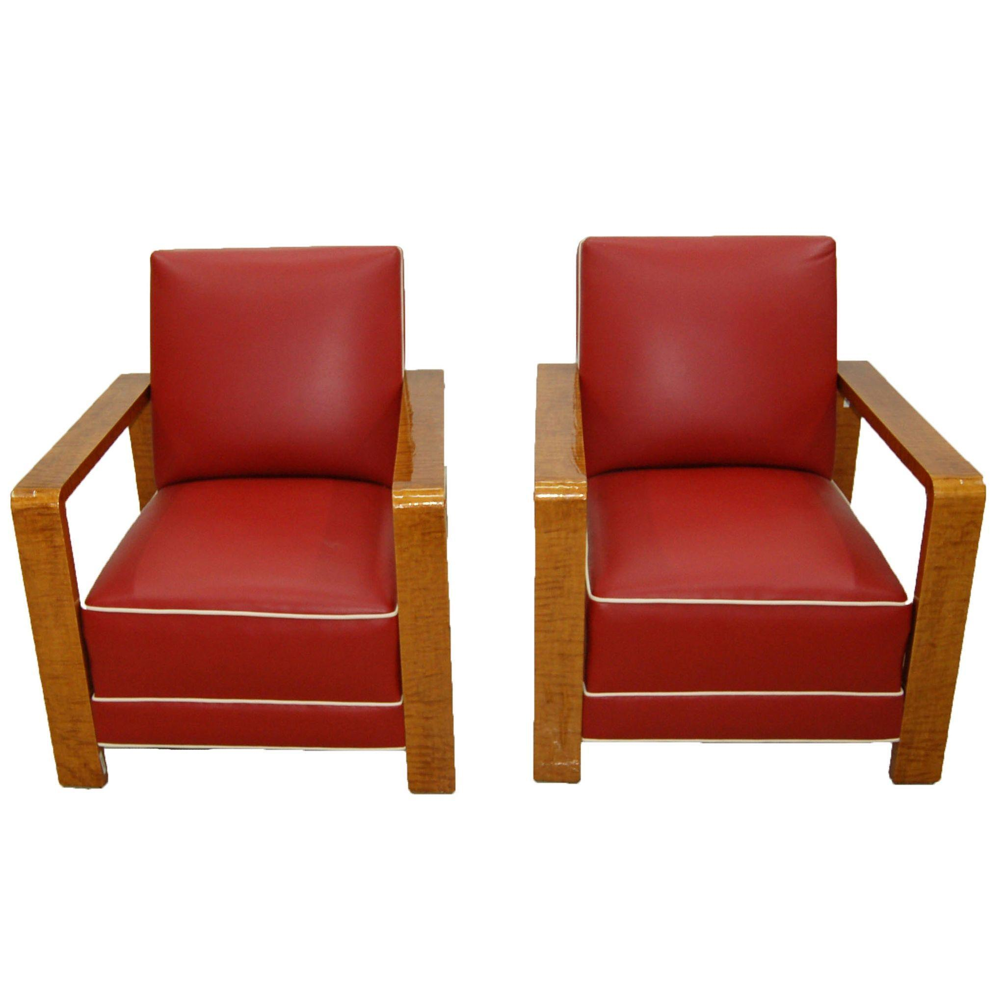 6046 Pair of Matching Art Deco Armchairs c. 1920