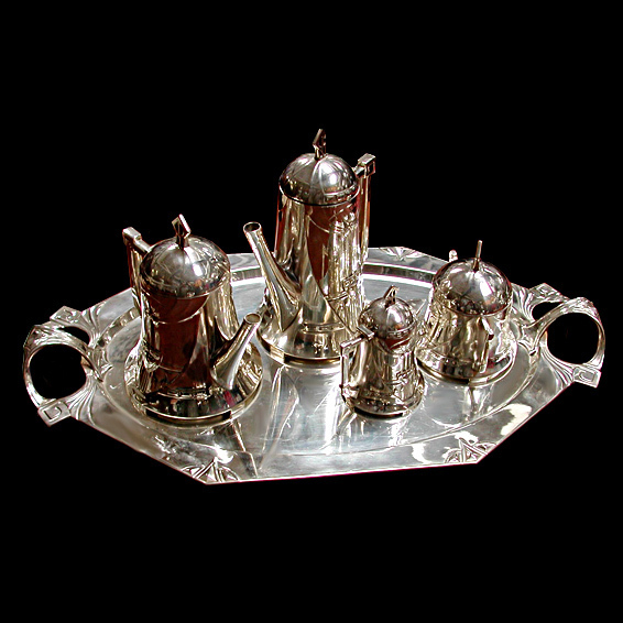 6048 Fabulous 5 Piece WMF Silver Plate Art Nouveau Tea Set