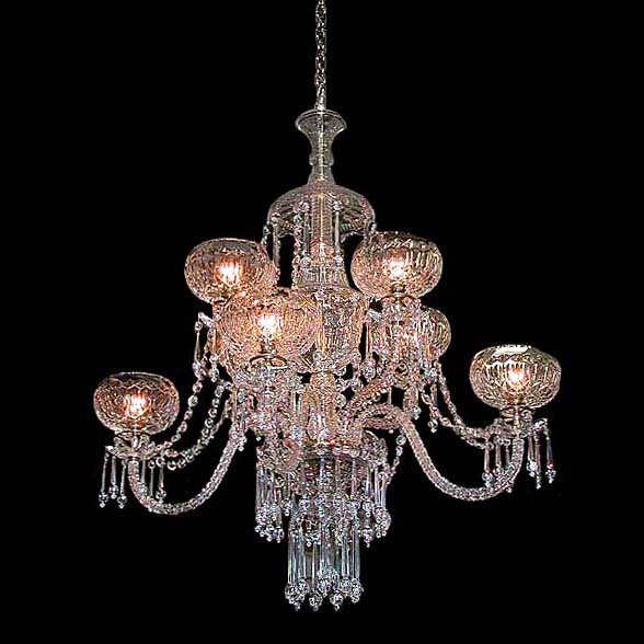 6058 Spectacular Two-Tier Crystal and Prism 8 Arm Chandelier