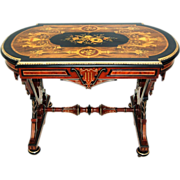 6077 Intricately Detailed Renaissance Revival Rosewood & Walnut Inlaid Table