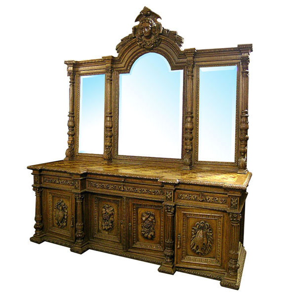 6080 Monumental Antique American Oak Sideboard c.1880