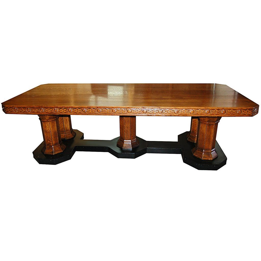 6081 Superb Antique 19th C. American Quartersawn Oak Conference Table