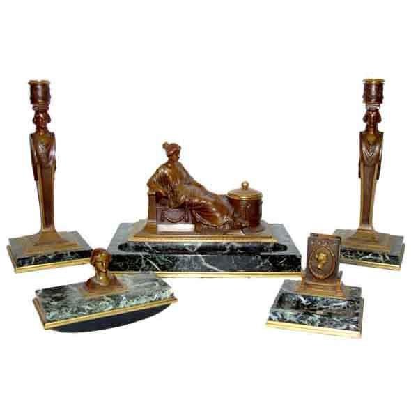 6085 Rare 5-Pc. Signed Tiffany & Co. Empire Revival Bronze & Marble Desk Set