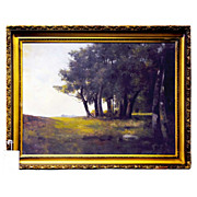 6092 Large 19th C. Oil on Canvas Landscape Painting Signed E. H. Meyer