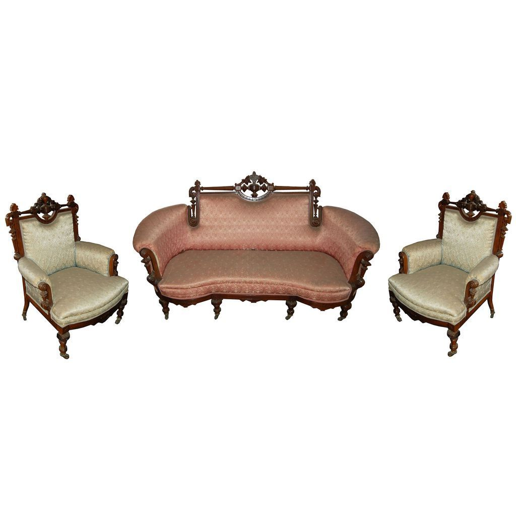 6098 American Renaissance Carved Rosewood Parlour Suite c. 1870