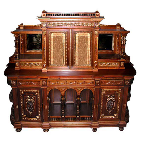 6108 Fine Renaissance Revival Parcel-Gilt Walnut Sideboard Brothers c.1875