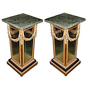 6110 Beautiful Pair of Bronze Crystal and Marble Pedestals