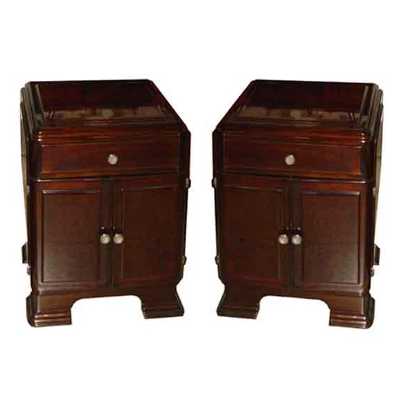 6112 Pair of Rosewood Art Deco Nightstands