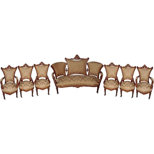 6117 Victorian 7-Pc. Walnut Parlor Set by John Jelliff