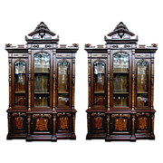 6123 Rare Matched Pair of American Walnut Victorian Bookcases