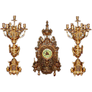 6127 3-Pc. 19th C. French Victorian Gilt Bronze Clock & Candelabra Set
